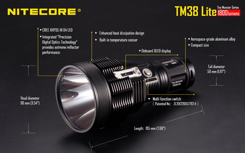 Torche Longue Lite Lampe Tm38 Nitecore 1800 Portée Lumens N0Omvn8w