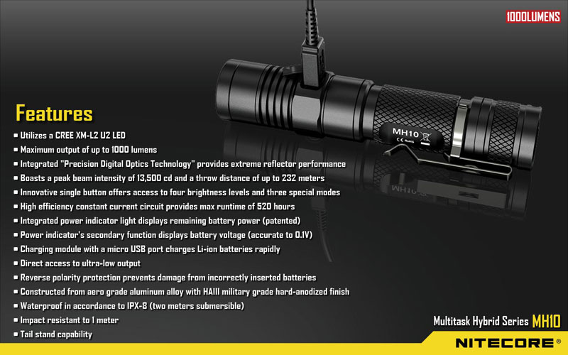 Nitecore MH10 lampe rechargeable